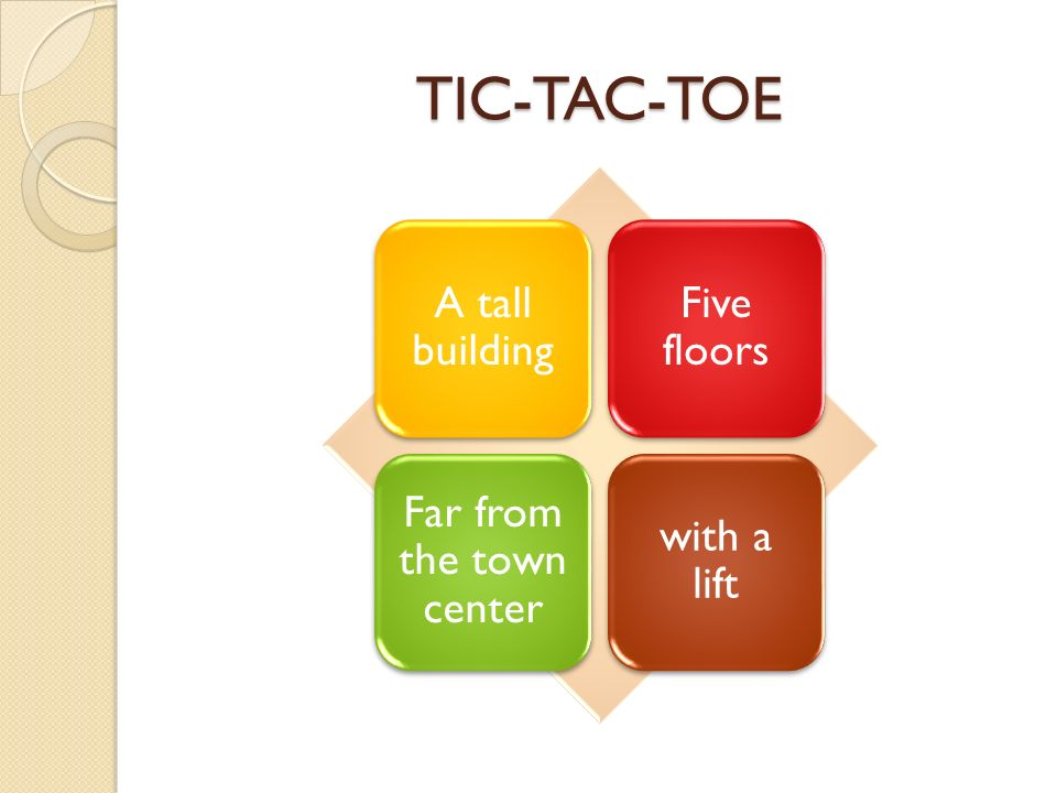 A tall building Five floors Far from the town center with a lift TIC-TAC-TOE