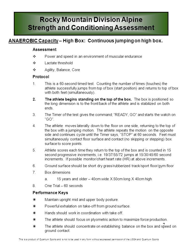 7 ANAEROBIC Capacity – High Box: Continuous jumping on high box.