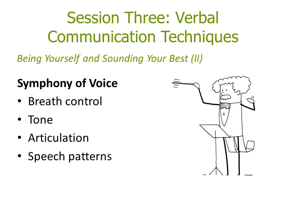 Session Three: Verbal Communication Techniques Symphony of Voice Breath control Tone Articulation Speech patterns Being Yourself and Sounding Your Best (II)