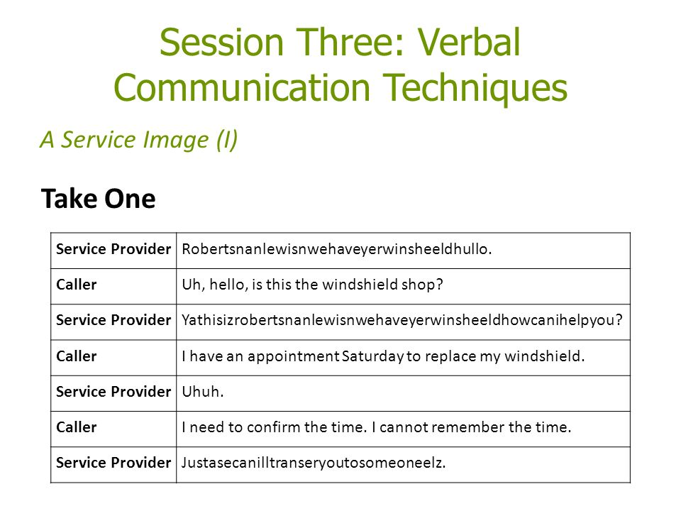 Session Three: Verbal Communication Techniques Take One A Service Image (I) Service ProviderRobertsnanlewisnwehaveyerwinsheeldhullo.