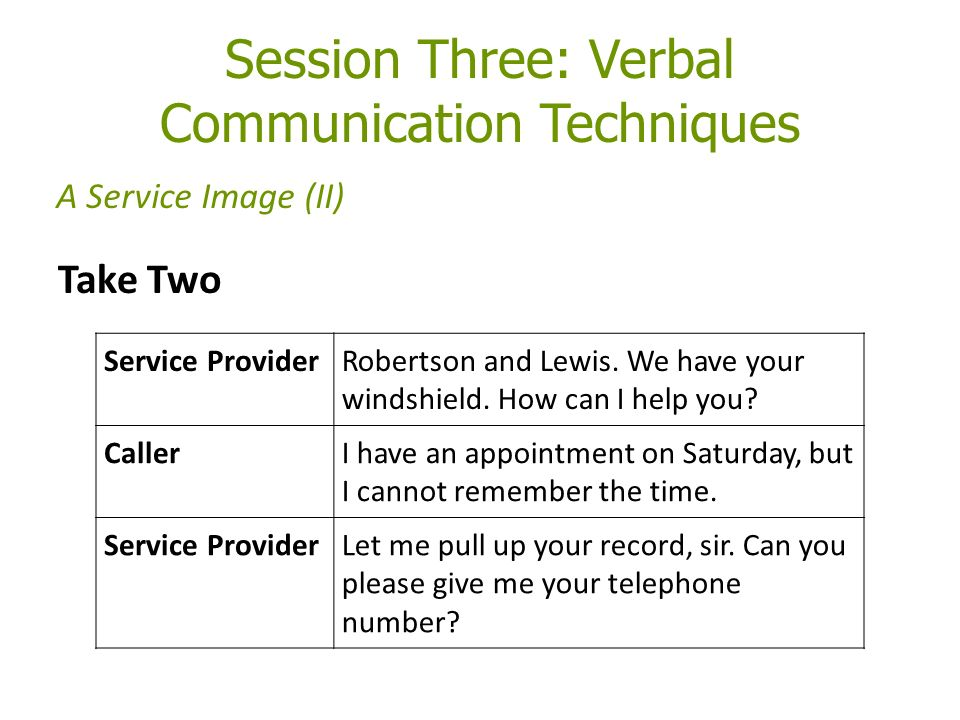 Session Three: Verbal Communication Techniques Take Two A Service Image (II) Service ProviderRobertson and Lewis.