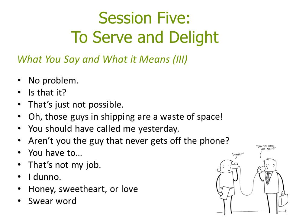 Session Five: To Serve and Delight No problem. Is that it.