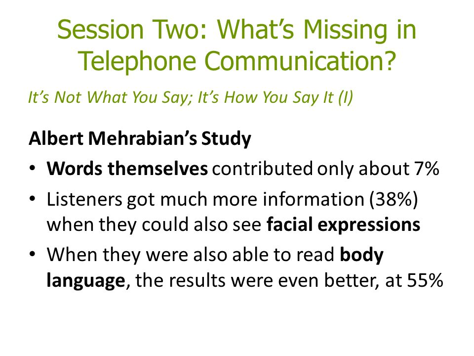 Session Two: What's Missing in Telephone Communication.