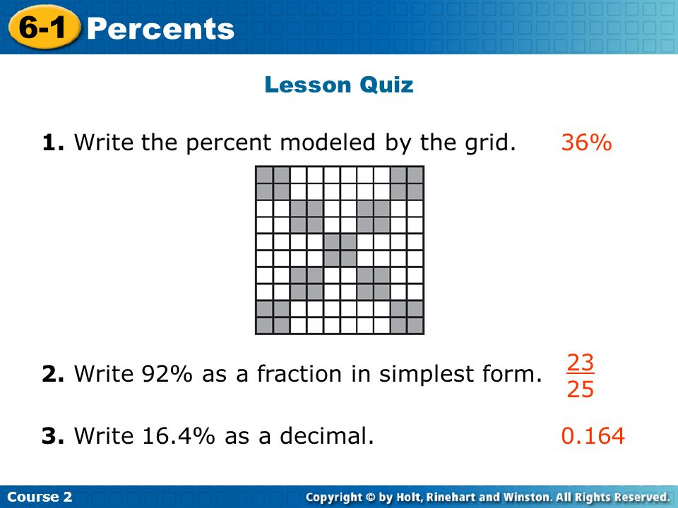 Warm Up Write each fraction as a decimal. Course Percents ppt download