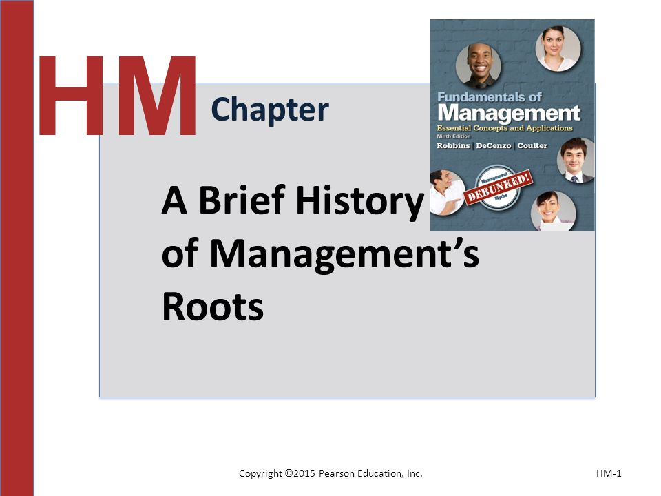 Copyright ©2015 Pearson Education, Inc.HM-1 Chapter HM A Brief History of Management's Roots