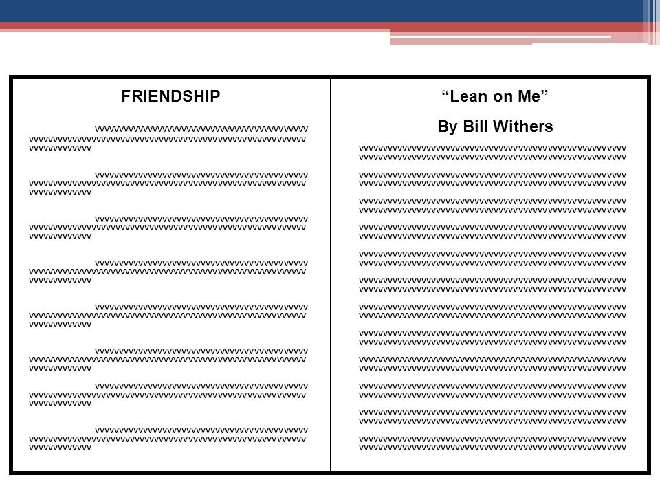 Lyric lean on me with lyrics : Literary Portfolio Requirements Composed of 10 vignettes [may be ...