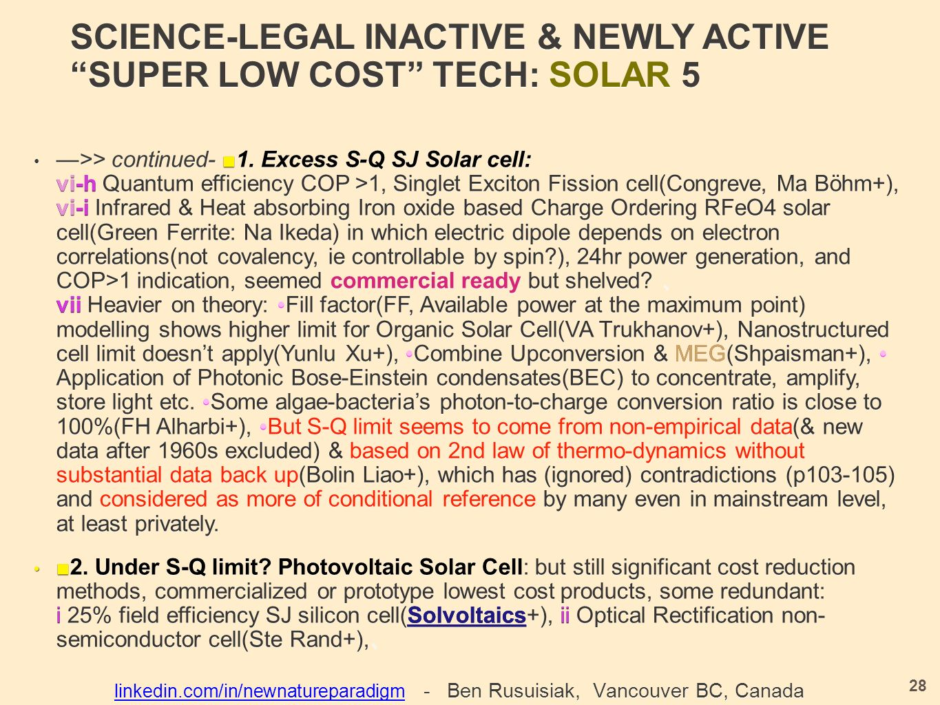 SCIENCE-LEGAL INACTIVE & NEWLY ACTIVE SUPER LOW COST TECH: SOLAR 5 —>> continued- ■ 1.
