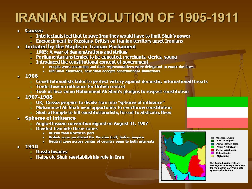 IRANIAN REVOLUTION OF 1905-1911 Causes Causes Intellectuals feel that to save Iran they would have to limit Shah's power Intellectuals feel that to save Iran they would have to limit Shah's power Encroachment by Russians, British on Iranian territory upset Iranians Encroachment by Russians, British on Iranian territory upset Iranians Initiated by the Majilis or Iranian Parliament Initiated by the Majilis or Iranian Parliament 1905: A year of demonstrations and strikes 1905: A year of demonstrations and strikes Parliamentarians tended to be educated, merchants, clerics, young Parliamentarians tended to be educated, merchants, clerics, young Introduced the constitutional concept of government Introduced the constitutional concept of government People were sovereign and their representatives were delegated to enact the laws People were sovereign and their representatives were delegated to enact the laws Old Shah abdicates, new shah accepts constitutional limitations Old Shah abdicates, new shah accepts constitutional limitations 1906 1906 Constitutionalists failed to protect victory against domestic, international threats Constitutionalists failed to protect victory against domestic, international threats Trade Russian influence for British control Trade Russian influence for British control Took at face value Mohammed Ali Shah s pledges to respect constitution Took at face value Mohammed Ali Shah s pledges to respect constitution 1907-1908 1907-1908 UK, Russia prepare to divide Iran into spheres of influence UK, Russia prepare to divide Iran into spheres of influence Mohammed Ali Shah used opportunity to overthrow constitution Mohammed Ali Shah used opportunity to overthrow constitution Shah attempts to kill constitutionalists, forced to abdicate, flees Shah attempts to kill constitutionalists, forced to abdicate, flees Spheres of influence Spheres of influence Anglo-Russian convention signed on August 31, 1907 Anglo-Russian convention signed on August 31, 1907 Divide
