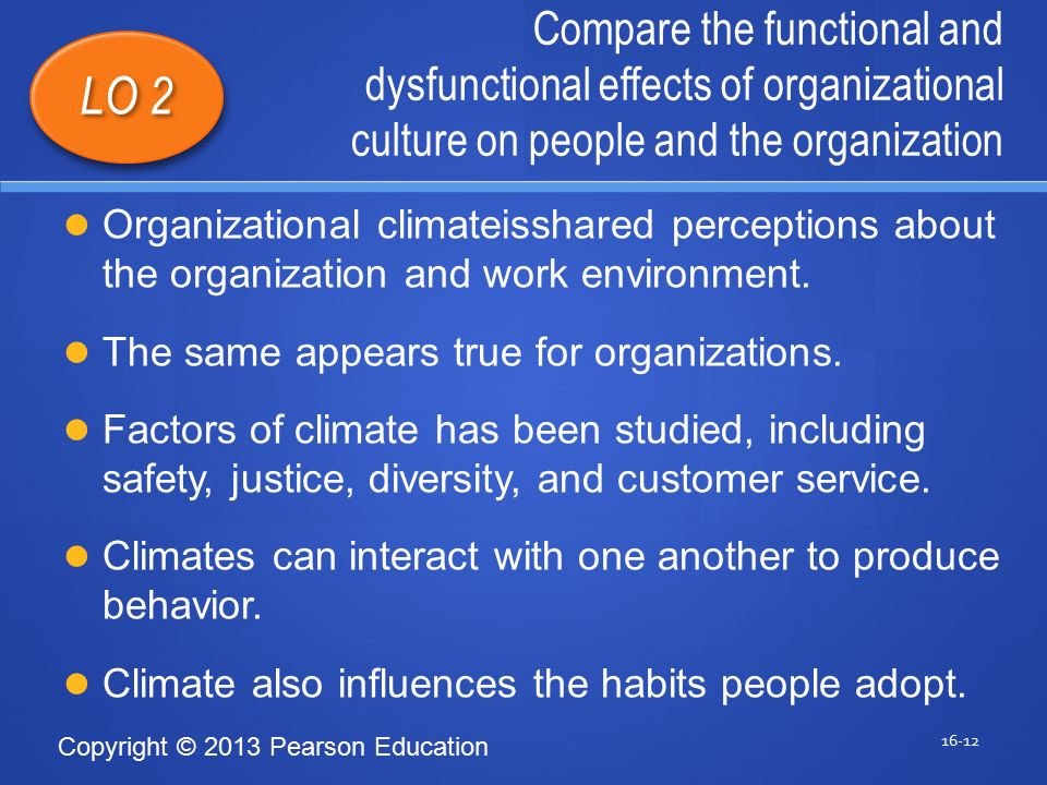 Copyright © 2013 Pearson Education Compare the functional and dysfunctional effects of organizational culture on people and the organization 16-12 LO 2 Organizational climateisshared perceptions about the organization and work environment.