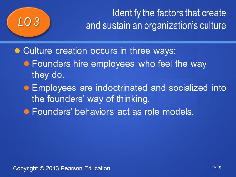 Copyright © 2013 Pearson Education Identify the factors that create and sustain an organization's culture 16-15 LO 3 Culture creation occurs in three ways: Founders hire employees who feel the way they do.
