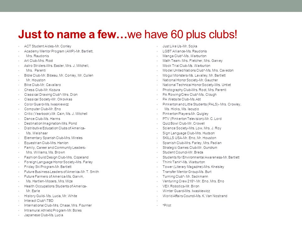 Just to name a few…we have 60 plus clubs. ACT Student Aides-Mr.