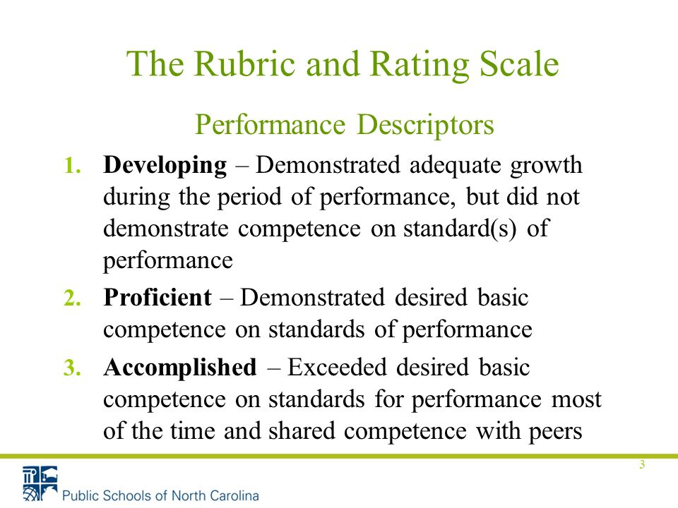 3 The Rubric and Rating Scale Performance Descriptors 1.
