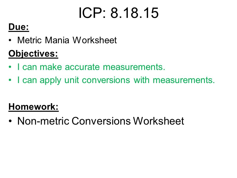 Math In Chemistry Metric System Worksheet Answers Mania Conversion ...