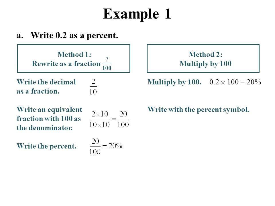 Percents, Decimals and Fractions Lesson 3.2 Core Focus on Ratios ...