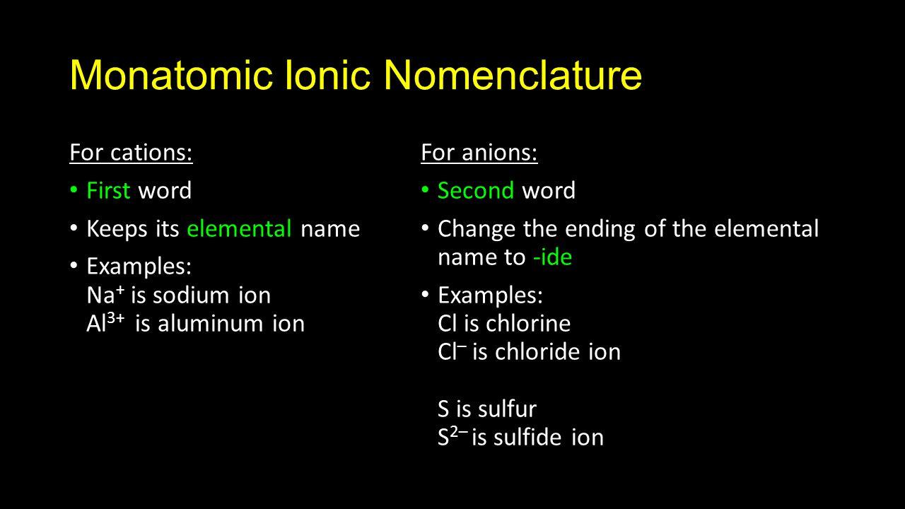 Unit 5 nomenclature naming substances chemical nomenclature 7 monatomic biocorpaavc