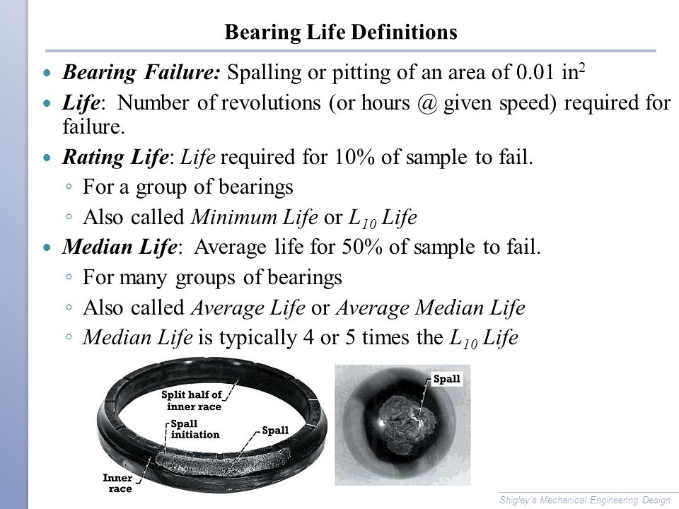 Bearing Life Definitions Bearing Failure: Spalling or pitting of an area of 0.01 in 2 Life: Number of revolutions (or hours @ given speed) required for failure.