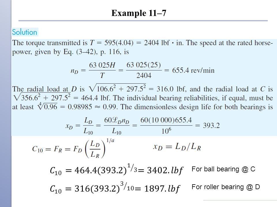 Example 11–7 For ball bearing @ C For roller bearing @ D