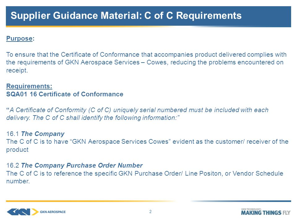Sqa01 Supplier Guidance Material: Certificate Of Conformance