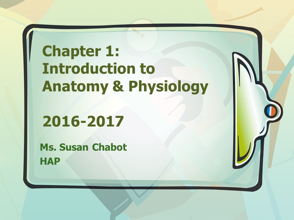 Chapter 1: Introduction to Anatomy & Physiology Ms. Susan Chabot HAP ...