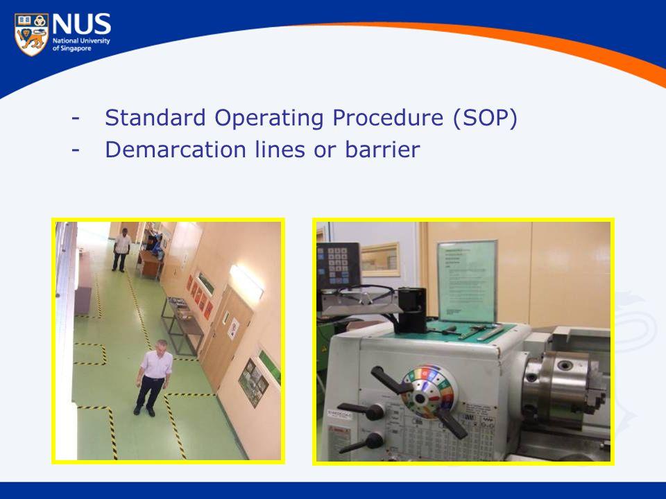 -Standard Operating Procedure (SOP) -Demarcation lines or barrier