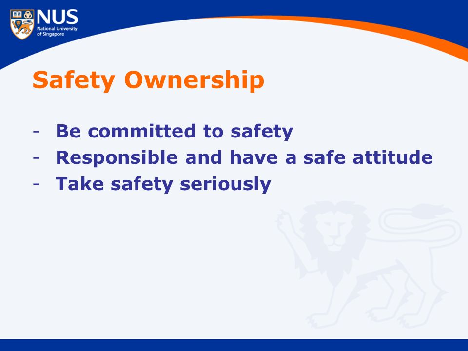 Safety Ownership -Be committed to safety -Responsible and have a safe attitude -Take safety seriously