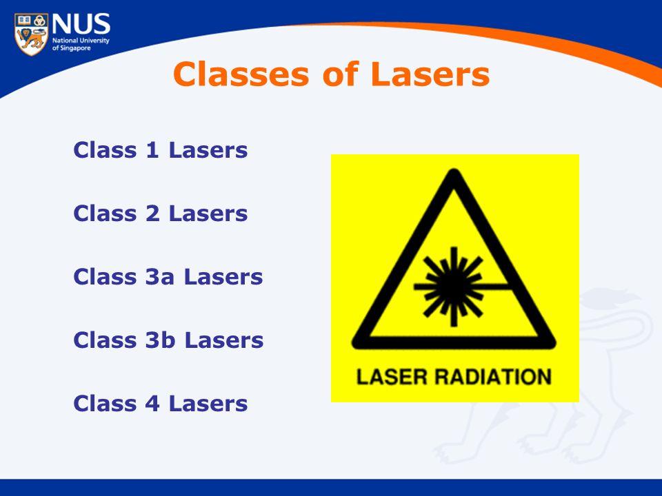 Classes of Lasers Class 1 Lasers Class 2 Lasers Class 3a Lasers Class 3b Lasers Class 4 Lasers
