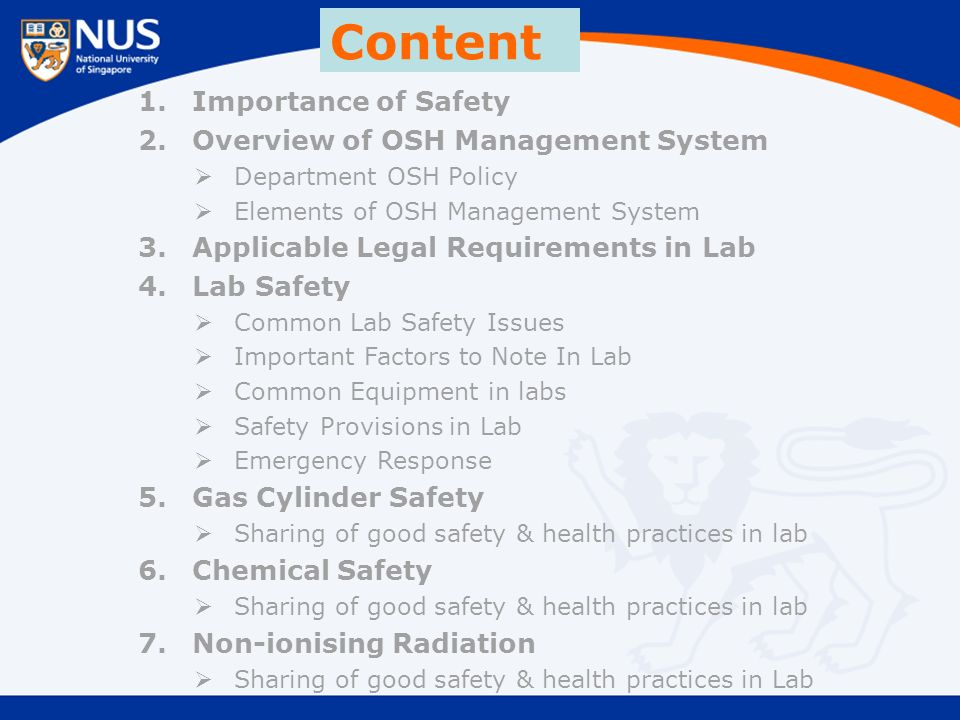 Content 1.Importance of Safety 2.Overview of OSH Management System  Department OSH Policy  Elements of OSH Management System 3.Applicable Legal Requirements in Lab 4.Lab Safety  Common Lab Safety Issues  Important Factors to Note In Lab  Common Equipment in labs  Safety Provisions in Lab  Emergency Response 5.Gas Cylinder Safety  Sharing of good safety & health practices in lab 6.Chemical Safety  Sharing of good safety & health practices in lab 7.Non-ionising Radiation  Sharing of good safety & health practices in Lab