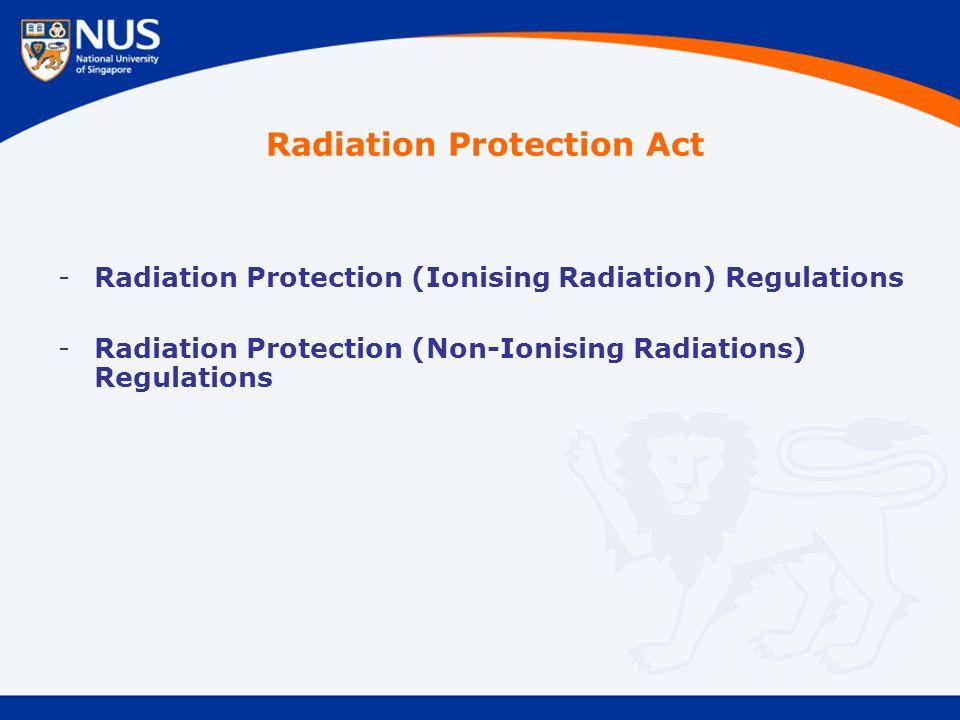 -Radiation Protection (Ionising Radiation) Regulations -Radiation Protection (Non-Ionising Radiations) Regulations