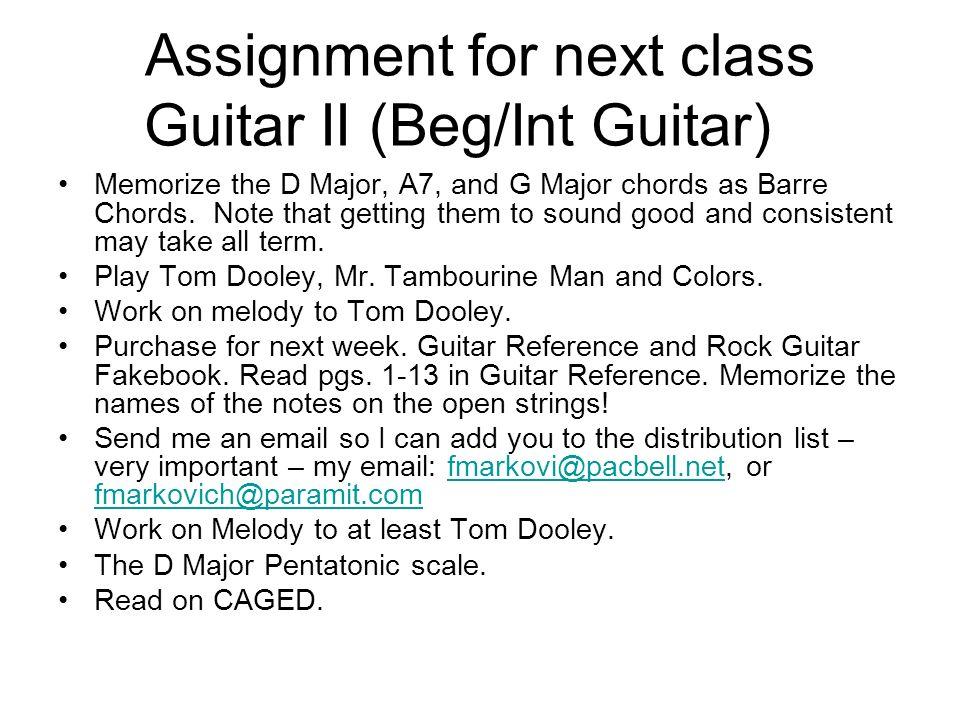 Guitar I And Guitar Ii Class 2 Music 377 Guitar I Beginning Guitar