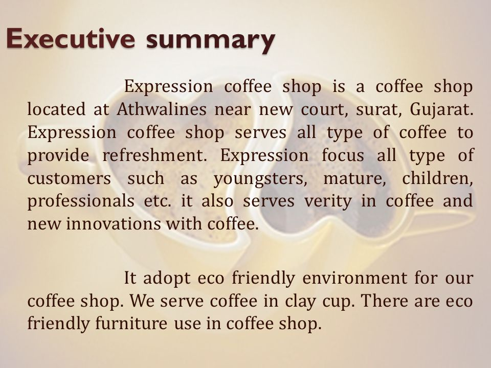 business proposal for coffee shop
