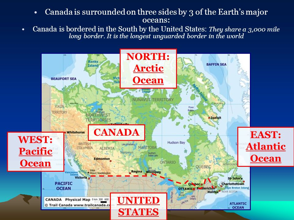 Canada Geography SSG The Student Will Locate Select Features Of - United states and canada physical map