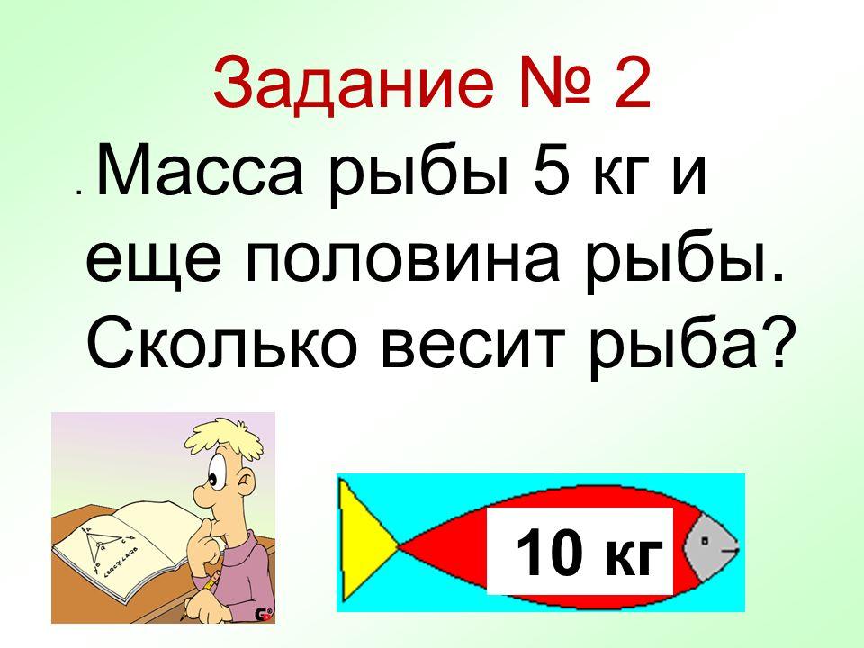 Задание № 2. Масса рыбы 5 кг и еще половина рыбы. Сколько весит рыба? 10 кг