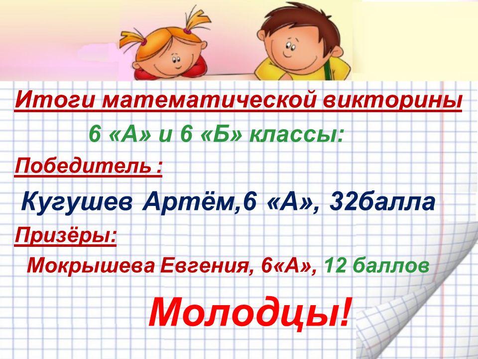 Итоги математической викторины 6 «А» и 6 «Б» классы: Победитель : Кугушев Артём,6 «А», 32балла Призёры: Мокрышева Евгения, 6«А», 12 баллов Молодцы!
