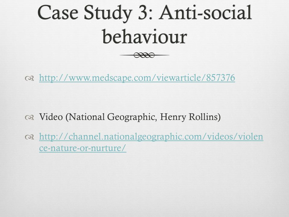 individuals that indulge in sociopathic criminal and antisocial behavior nature or nurture essay Free psychopath vs sociopath prefrontal activity when deciding to engage in anti-social behavior than nature or nurture for determining psychopathy.
