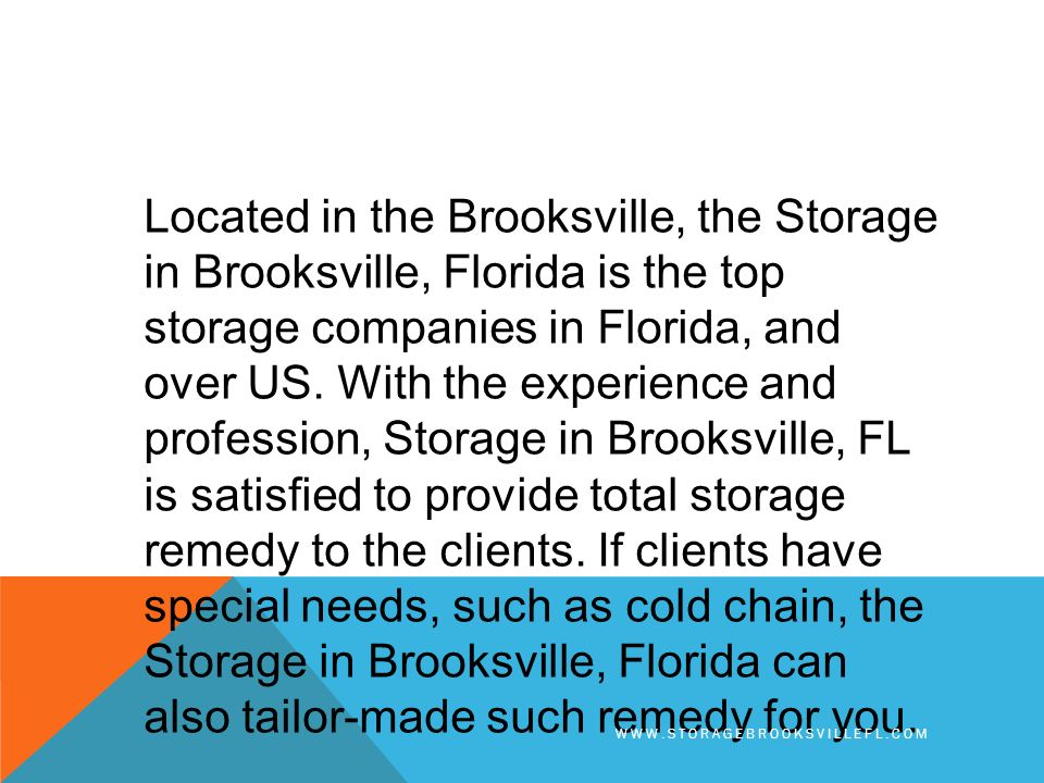 Located In The Brooksville Storage Florida Is Top Companies