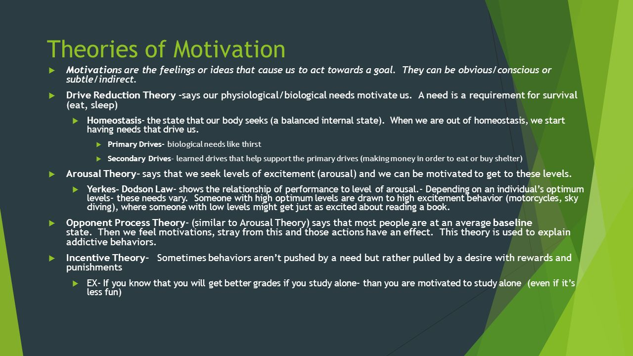 theories of motivation emotion and arousal essay Free essay: motivation and emotion motivation is best described as drive-reduction, arousal how do the theories of emotion, motivation and development.