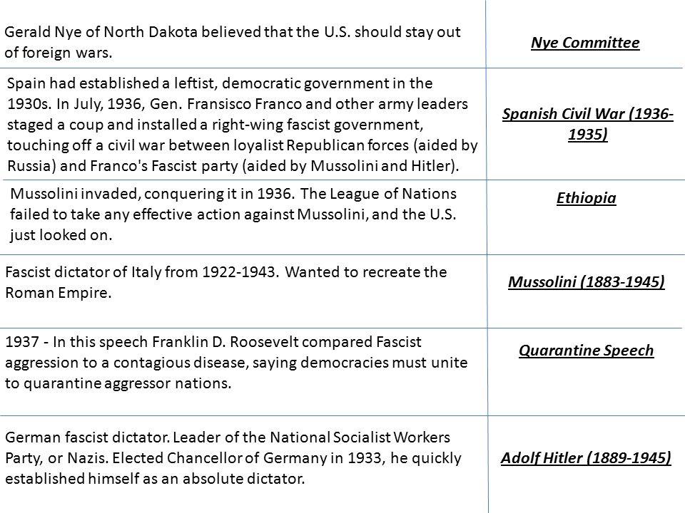 Nye Committee Gerald Nye of North Dakota believed that the U.S.