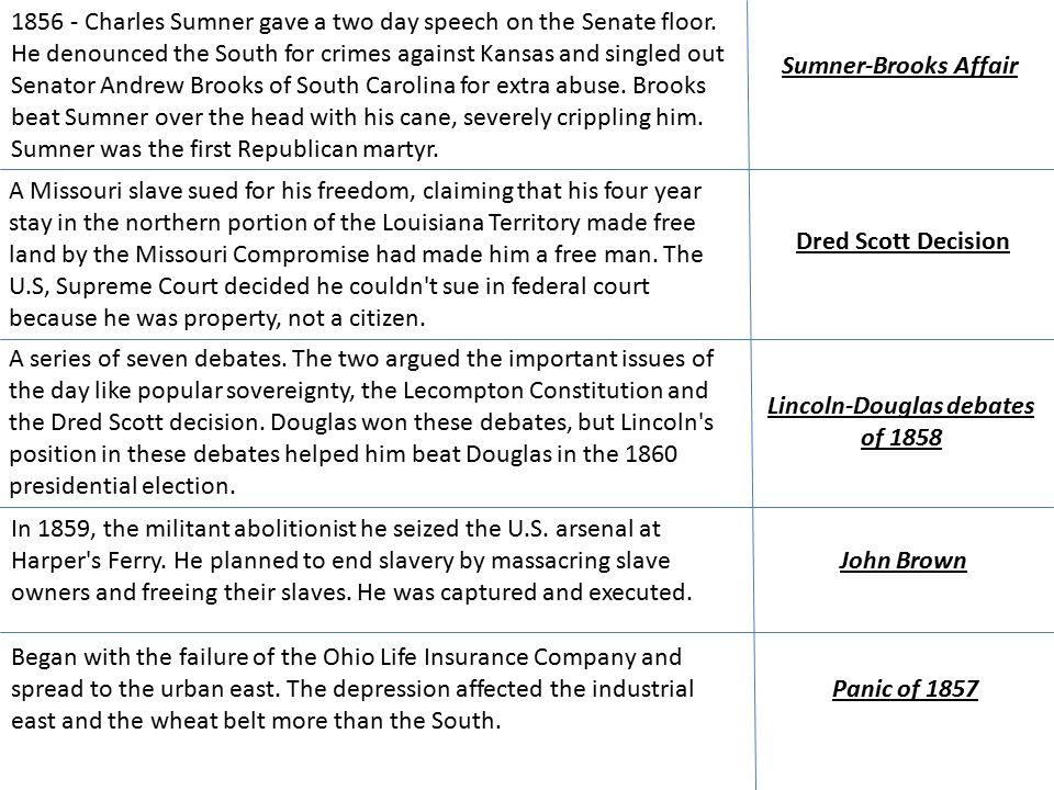 Sumner-Brooks Affair 1856 - Charles Sumner gave a two day speech on the Senate floor.