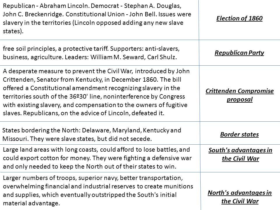Republican - Abraham Lincoln. Democrat - Stephan A.