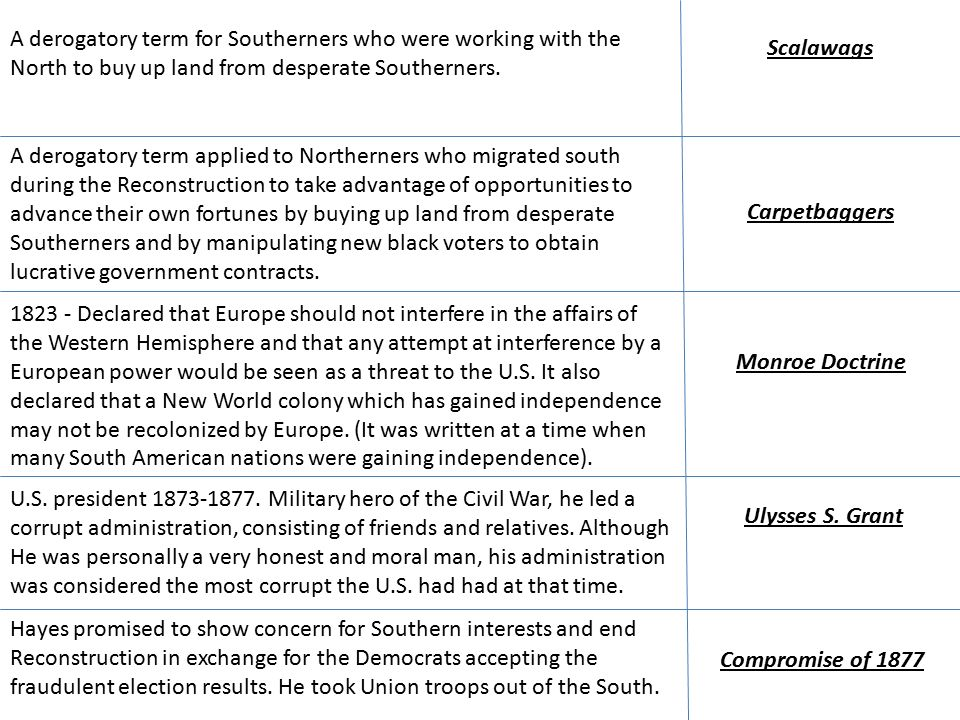 Scalawags A derogatory term for Southerners who were working with the North to buy up land from desperate Southerners.