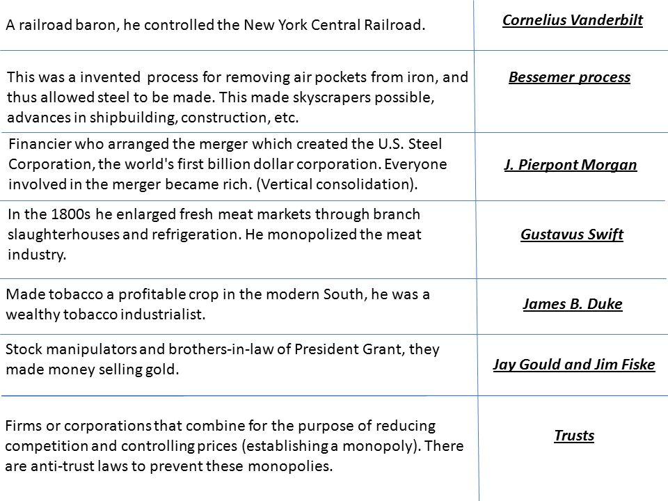 Cornelius Vanderbilt A railroad baron, he controlled the New York Central Railroad.