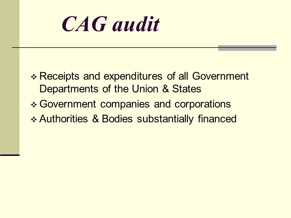 CAG audit  Receipts and expenditures of all Government Departments of the Union & States  Government companies and corporations  Authorities & Bodies substantially financed