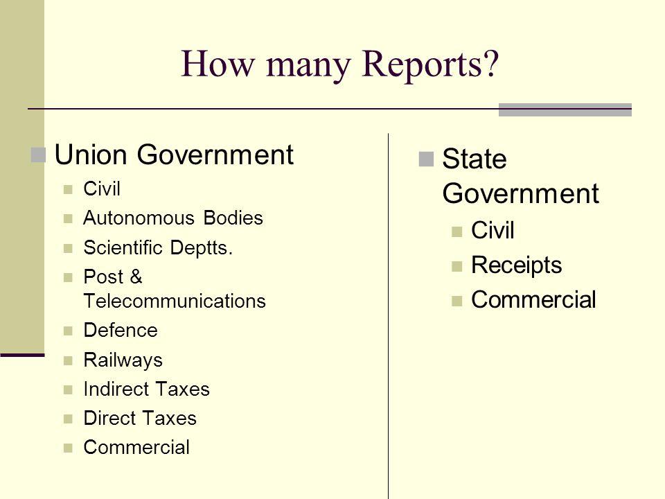 How many Reports. Union Government Civil Autonomous Bodies Scientific Deptts.