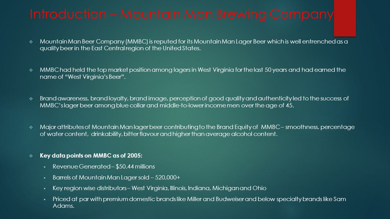 mountain man beer case analysis essay Free essay: case analysis mountain man brewing company case analysis mountain man brewing company executive summary started in the year 1925 by guntar.