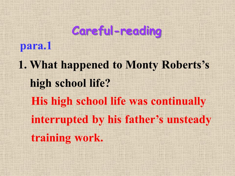 Careful-reading para.1 1. What happened to Monty Roberts's high school life.