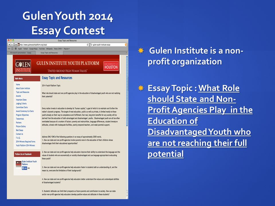 gulen institute essay Gulen institute youth platform is an international essay contest annually organized by the gulen institute at the university of houston and is open for high school students in grades 9th through 12th enrolled in public or private schools all over the world.