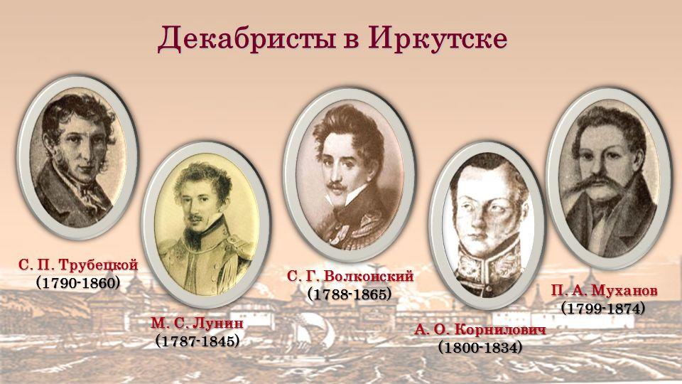 М. С. Лунин (1787-1845) С. П. Трубецкой (1790-1860) П.