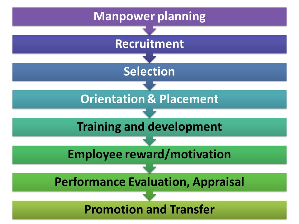 26 Promotion and Transfer Performance Evaluation, Appraisal Employee reward/motivation Training and development Orientation & Placement Selection Recruitment Manpower planning