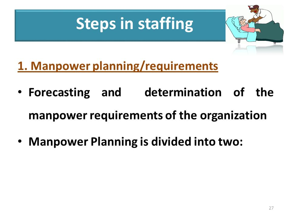 1. Manpower planning/requirements Forecasting and determination of the manpower requirements of the organization Manpower Planning is divided into two