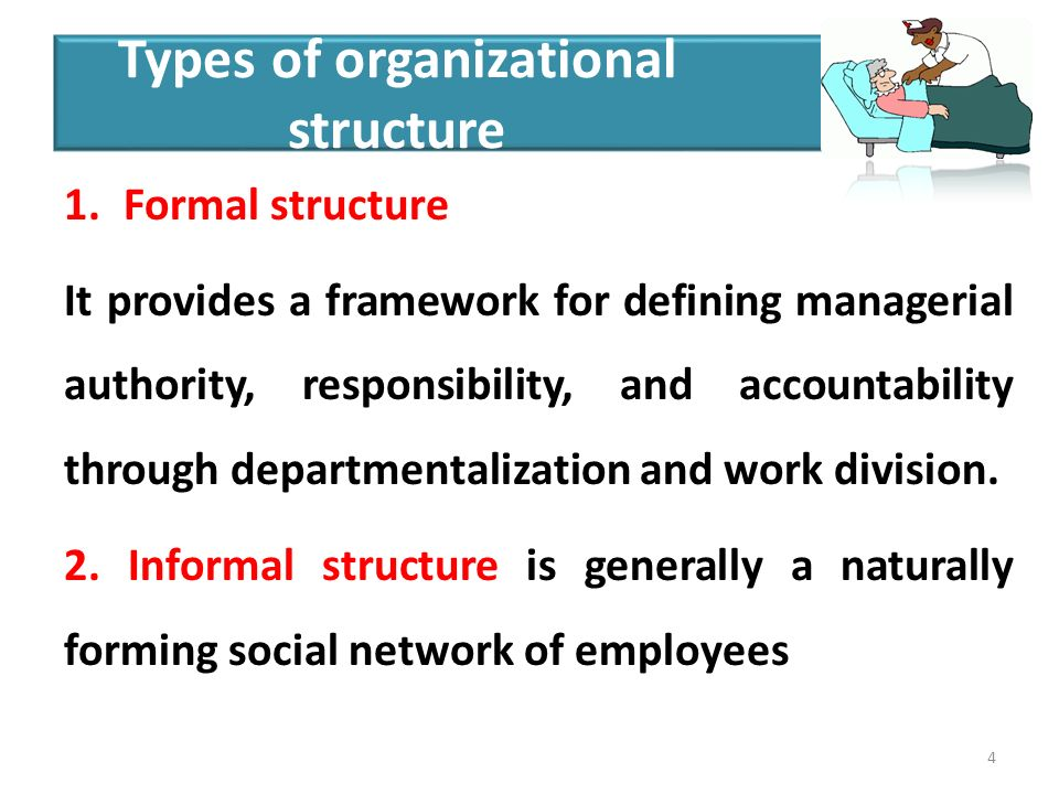 1.Formal structure It provides a framework for defining managerial authority, responsibility, and accountability through departmentalization and work division.